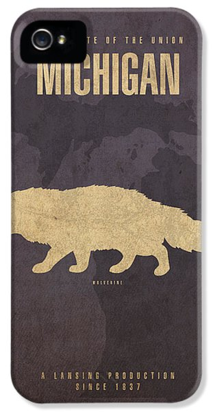 Michigan State Facts Minimalist Movie Poster Art  IPhone 5 Case by Design Turnpike