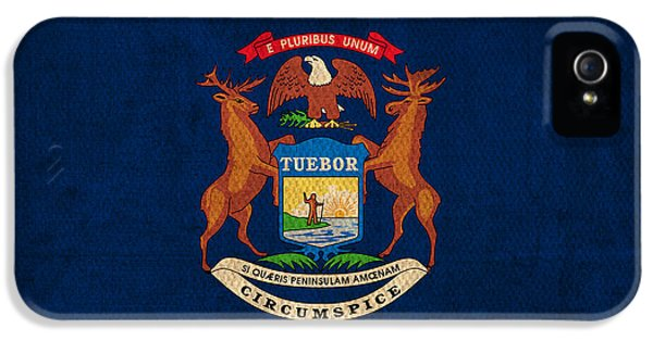 Michigan State Flag Art On Worn Canvas IPhone 5 Case