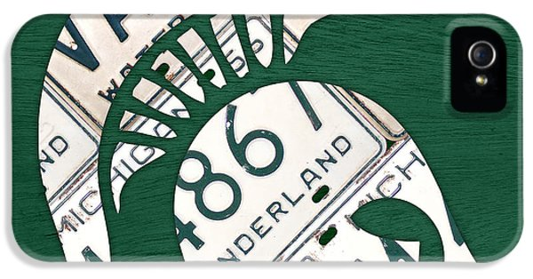 Michigan State Spartans Sports Retro Logo License Plate Fan Art IPhone 5 Case by Design Turnpike