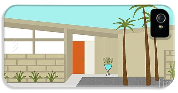 Mid Century Modern House 1 IPhone 5 Case by Donna Mibus