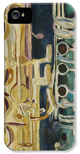Saxophone iPhone 5 Case - Midnight Duet by Jenny Armitage