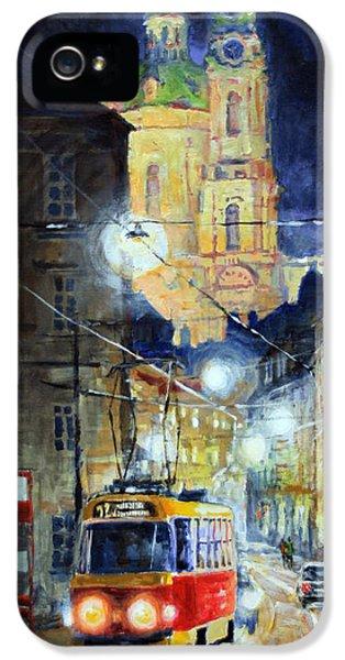Midnight Tram  Prague  Karmelitska Str IPhone 5 Case