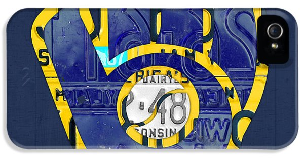 Milwaukee Brewers Vintage Baseball Team Logo Recycled Wisconsin License Plate Art IPhone 5 Case by Design Turnpike