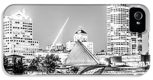 Milwaukee Skyline At Night Panorama In Black And White IPhone 5 Case by Paul Velgos