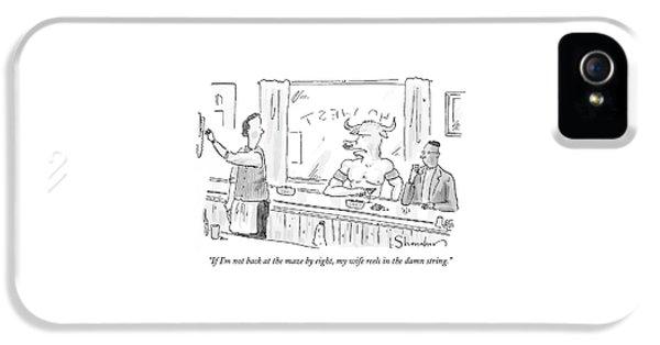 Minotaur At Bar Talking To Bartender Reaching IPhone 5 Case by Danny Shanahan