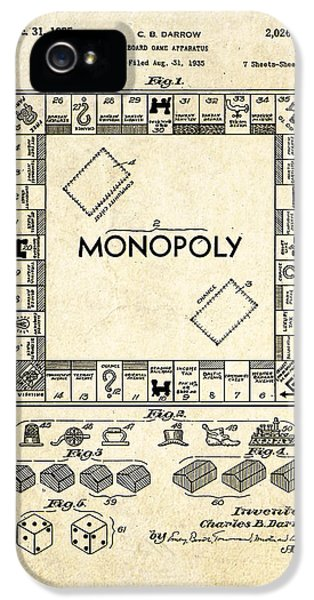Monopoly Board Game Patent Art IPhone 5 Case by Gary Bodnar
