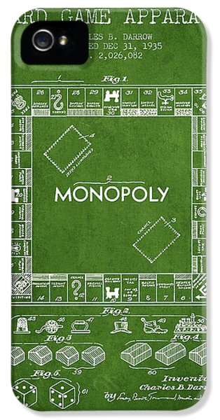 Monopoly Patent From 1935 - Green IPhone 5 Case by Aged Pixel