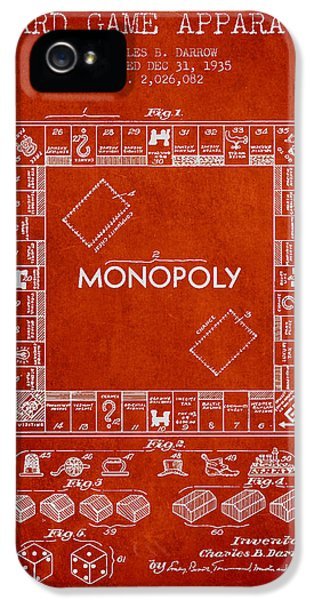 Monopoly Patent From 1935 - Red IPhone 5 Case by Aged Pixel
