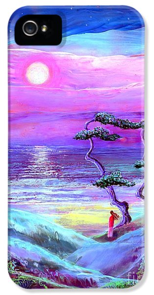 Impressionism iPhone 5 Case - Moon Pathway,seascape by Jane Small