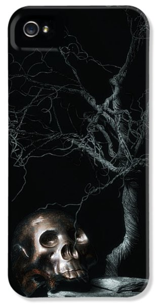 Moonlit Skull And Tree Still Life IPhone 5 Case by Tom Mc Nemar