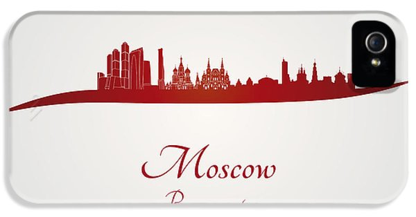 Moscow Skyline In Red IPhone 5 / 5s Case by Pablo Romero