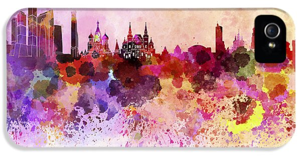 Moscow Skyline In Watercolor Background IPhone 5 Case