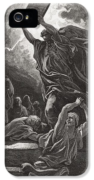 Moses Breaking The Tablets Of The Law IPhone 5 Case by Gustave Dore