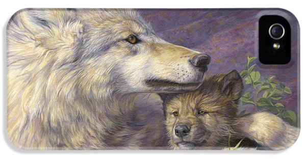 Wolf iPhone 5 Case - Mother's Love by Lucie Bilodeau