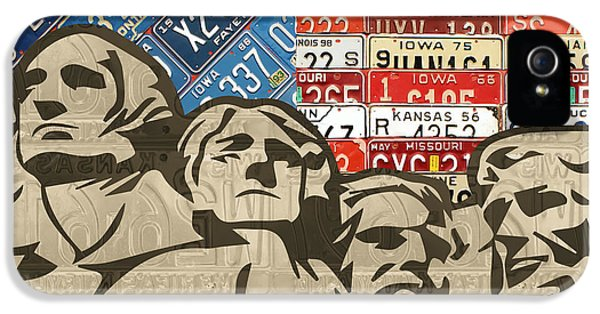 Mount Rushmore Monument Vintage Recycled License Plate Art IPhone 5 Case by Design Turnpike