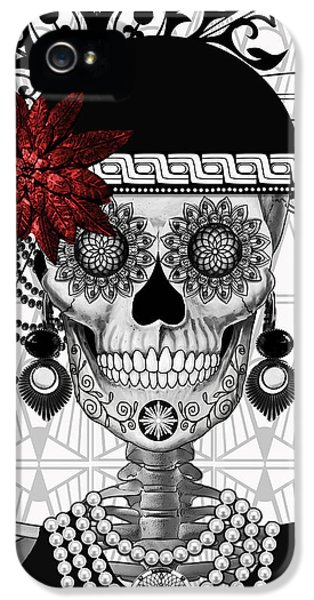 Mrs. Gloria Vanderbone - Day Of The Dead 1920's Flapper Girl Sugar Skull - Copyrighted IPhone 5 Case by Christopher Beikmann