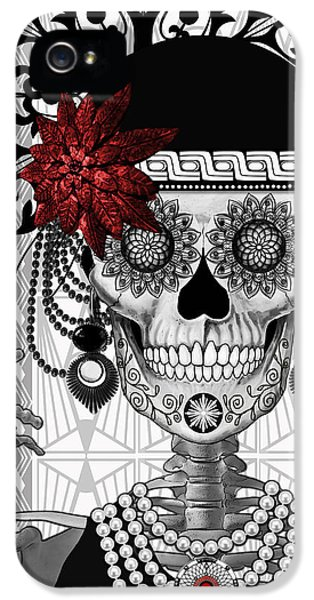 Mrs. Gloria Vanderbone - Day Of The Dead 1920's Flapper Girl Sugar Skull - Copyrighted IPhone 5 Case