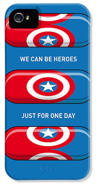 My Superhero Pills - Captain America IPhone 5 Case by Chungkong Art