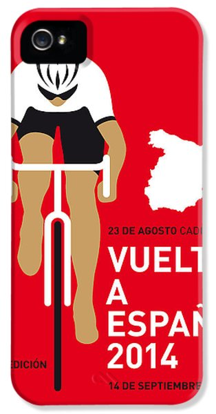 Bicycle iPhone 5 Case - My Vuelta A Espana Minimal Poster 2014 by Chungkong Art