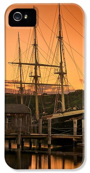 Mystic Seaport Sunset-joseph Conrad Tallship 1882 IPhone 5 Case by Thomas Schoeller