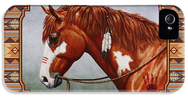 Native American War Horse Southwestern Pillow IPhone 5 Case by Crista Forest