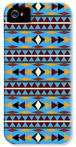 Navajo Blue Pattern IPhone 5 Case by Christina Rollo