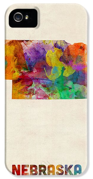 Nebraska iPhone 5 Case - Nebraska Watercolor Map by Michael Tompsett