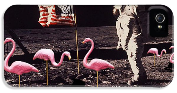 Neil Armstrong And Flamingos On The Moon IPhone 5 Case by Tony Rubino