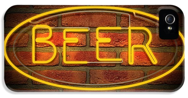 Neon Beer Sign On A Face Brick Wall IPhone 5 Case
