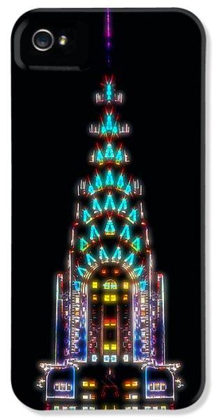 Chrysler Building iPhone 5 Case - Neon Spires by Az Jackson