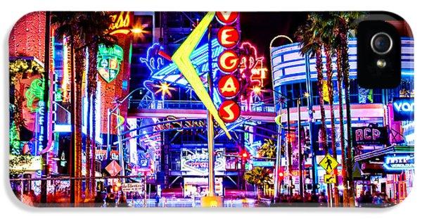 Eiffel Tower iPhone 5 Case - Neon Vegas by Az Jackson