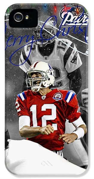 New England Patriots Christmas Card IPhone 5 Case by Joe Hamilton
