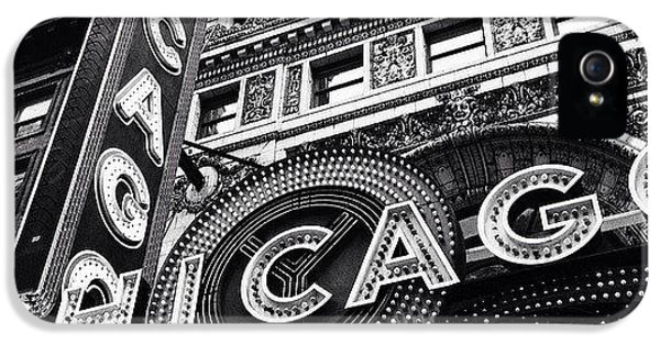 Architecture iPhone 5 Case - Chicago Theatre Sign Black And White Photo by Paul Velgos