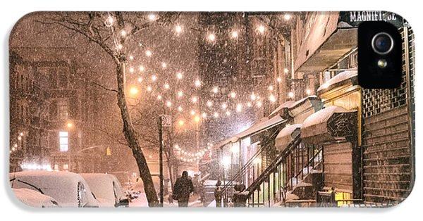 Broadway iPhone 5 Case - New York City - Winter Snow Scene - East Village by Vivienne Gucwa