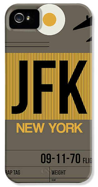 Broadway iPhone 5 Case - New York Luggage Tag Poster 3 by Naxart Studio