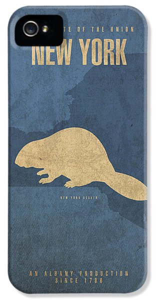 New York State Facts Minimalist Movie Poster Art  IPhone 5 Case by Design Turnpike