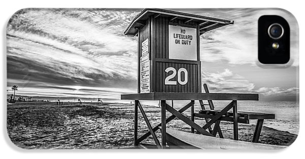 Newport Beach Lifeguard Tower 20 Black And White Photo IPhone 5 / 5s Case by Paul Velgos