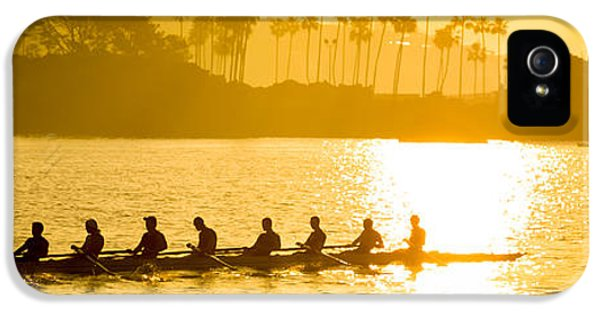 Newport Beach Rowing Crew Panorama Photo IPhone 5 Case by Paul Velgos