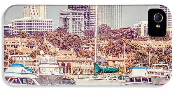 Newport Beach Skyline Panorama Vintage Tone IPhone 5 Case by Paul Velgos