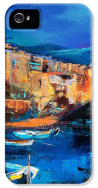 Night Colors Over Riomaggiore - Cinque Terre IPhone 5 Case by Elise Palmigiani