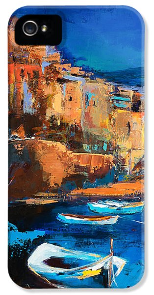 Night Colors Over Riomaggiore - Cinque Terre IPhone 5 Case by Elise Palmigiani