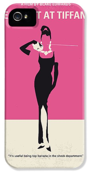 No204 My Breakfast At Tiffanys Minimal Movie Poster IPhone 5 Case by Chungkong Art