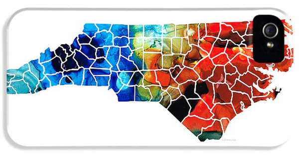 North Carolina - Colorful Wall Map By Sharon Cummings IPhone 5 Case by Sharon Cummings