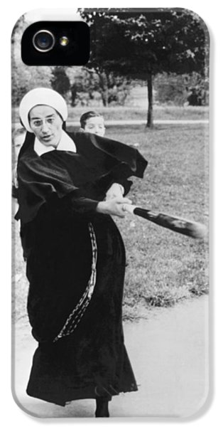 Nun Swinging A Baseball Bat IPhone 5 Case by Underwood Archives