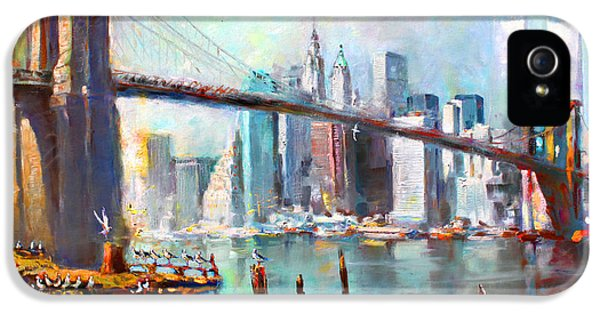 City Scenes iPhone 5 Case - Ny City Brooklyn Bridge II by Ylli Haruni
