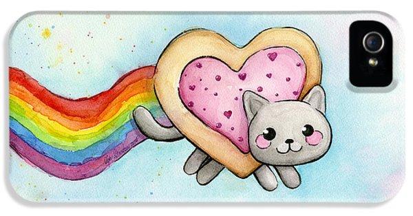 Cats iPhone 5 Case - Nyan Cat Valentine Heart by Olga Shvartsur