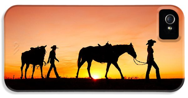 Horse iPhone 5 Case - Off To The Barn by Todd Klassy