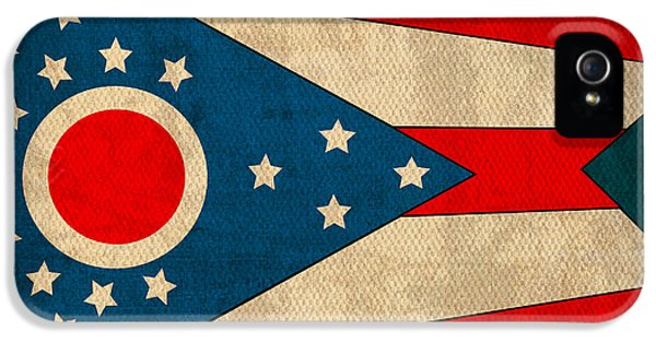 Ohio State Flag Art On Worn Canvas IPhone 5 / 5s Case by Design Turnpike