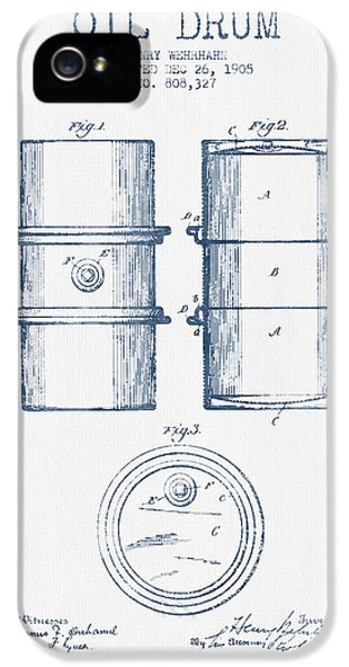 Drum iPhone 5 Case - Oil Drum Patent Drawing From 1905 -  Blue Ink by Aged Pixel