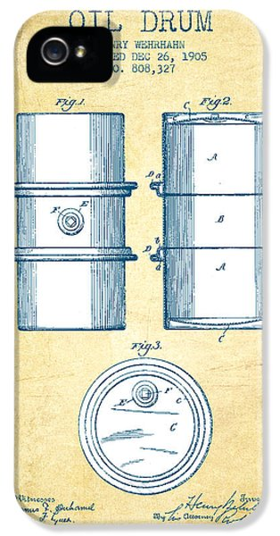 Drum iPhone 5 Case - Oil Drum Patent Drawing From 1905 - Vintage Paper by Aged Pixel